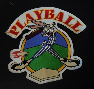 """LARGE BUGS BUNNY At Bat - Play Ball Jacket Sew-On Embroidered Patch 15"""" Baseball"""