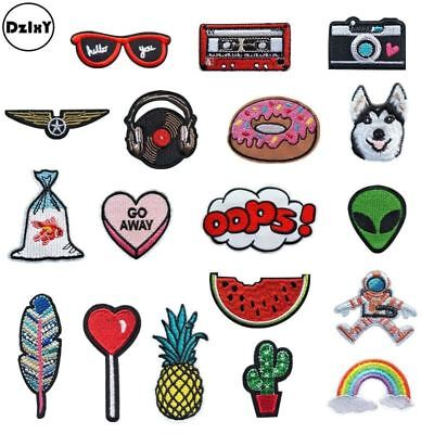 Embroidery Iron on Patches for Clothing DIY Foods Stripes Clothes UFO Stickers A