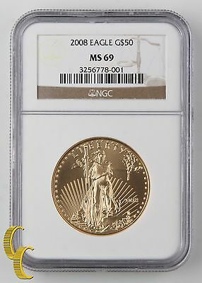2008 1 oz Gold American Eagle Graded by NGC as MS-69! United States gold Bullion
