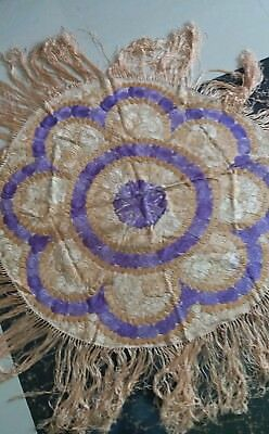 """Antique Matyo Hungarian  silk Hand Embroidery table shawl  size 35""""x36""""cm90x92"""