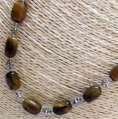 """NEW QVC DOUG PAULUS Sterling Silver Tiger's Eye24"""" Bead Necklace NEW W/O TAG"""
