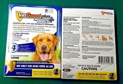 VetGuard Plus Dog Monthly Flea,Tick, and Mosquito XL Dogs over 66 lbs 4 PACK