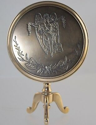 Antique Miniature Brass Doll Tilt Top Table Or Candle Shield W/engraved Angel