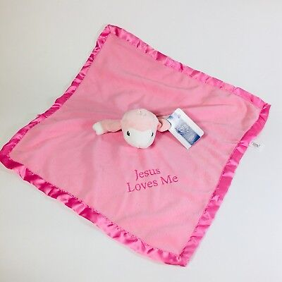 NWT Precious Moments Jesus Loves Me Pink Plush Lovey Security Blanket Lamb