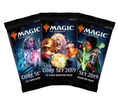 MTG x3 Core Set 2019 M19 Factory Sealed Booster Packs Magic the Gathering SKU216