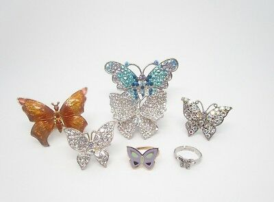 Vintage To Now Seven Butterfly Rings Rhinestones and Enamel