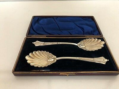"""Lovely Pair Of Cased Silver Plated Berry Spoons 6"""" Long"""