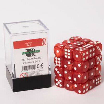 Blackfire Dice Cube ? 12mm D6 36 Dice Set ? Marbled Red