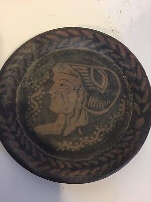 """Extremely Rare Thracian Ancient Plate with Head of Helena 7.5"""" dia 550 BC w COA"""