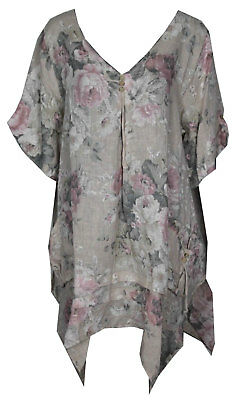 Womens Italian Floral Vertical Slant Band Linen Lagenlook Tunic Top Plus Size