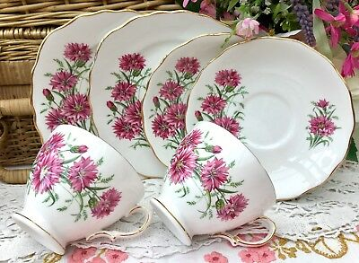 ROYAL VALE 1960s TRIO SET x2 CUP SAUCER PLATE PINK CORNFLOWER GILDED BONE CHINA