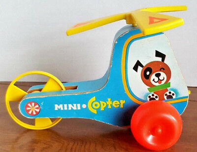 Vintage 1970 Fisher Price Mini Copter #448 Wooden Helicopter Pull Toy