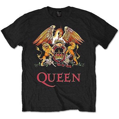 Official QUEEN Classic Crest T Shirt Black Band Tee Freddie Mercury All Sizes