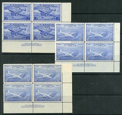 Weeda Canada CE1/4 F/VF MNH LR plate #1 blocks, Special Delivery Airmail CV $78+