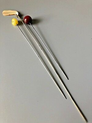 Lot of Antique Hat Pins Long 5-9 Inches Length Glass MOP