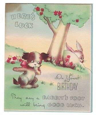 Vintage Birthday Card - Bog and Rabbit  GC