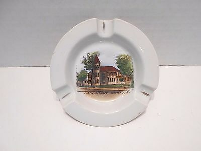 Vintage Westerly RI Public Library Souvenir Ashtray Woodmansee's Shop Germany