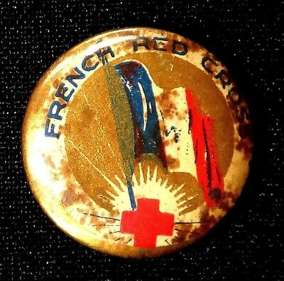 Vintage French Red Cross Tin Plate Badge Pin Button