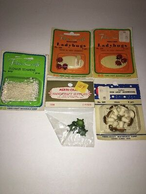 Lot Of Vintage Fibre-Craft/ Merri-Craft Springtime Miniatures Turtle Ladybug