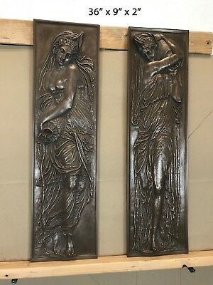 Antique Large Pair of Bronze over Resin Plaques F. Barbedienne