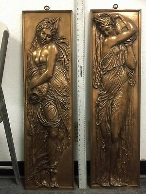 Antique Large Pair of Bronze Plaques F. Barbedienne