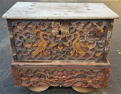 Antique Indonesian Hand Carved Wooden Chest Table Furniture