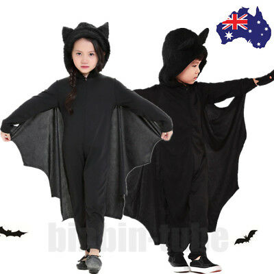 Kids Boys Girls Halloween Vampire Bat Jumpsuit Fancy Dress Party Cosplay Outfits