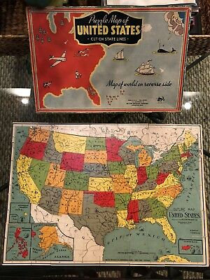 1940s Vintage Wood Puzzle Map Of United States & World Great Condition With Box