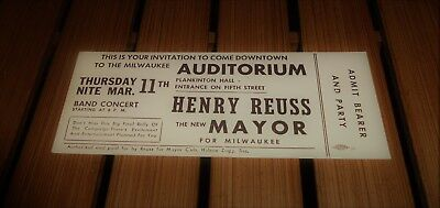 Vintage Admission Ticket Campaign Henry Reuss Mayor Milwaukee Band Concert