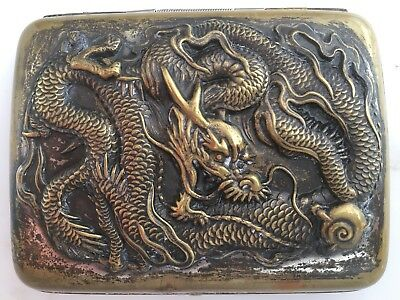 Antique Chinese Silver Gold Washed Embossed Dragon Cigarette Case