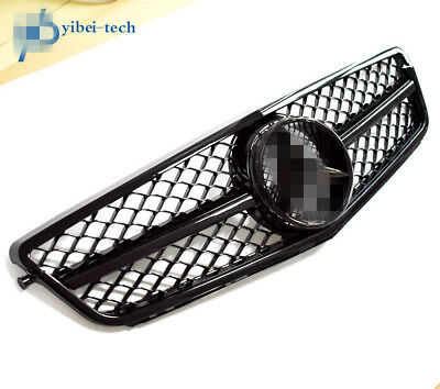 1 Fin Big Mesh Front Gloss Black Grille Grill For M-Benz W204 C250 C300