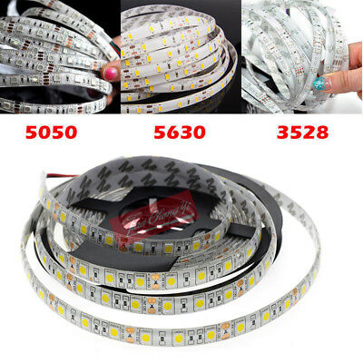 5M SMD 300 600 LED 3014 3528 5050 5630 Waterproof Flexible Strip Light 12V White