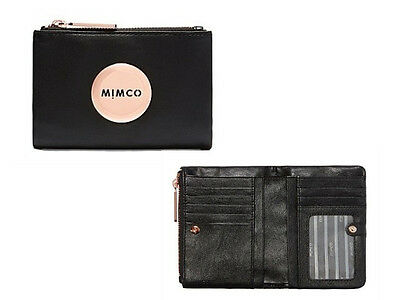 Mimco fold wallet petite black leather with rose gold hardware