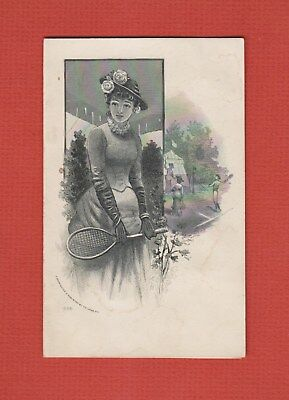 Rare 1900 LADY BADMINTON Player MALTA Ohio OUR STORE Clothing ADVERTISING Card