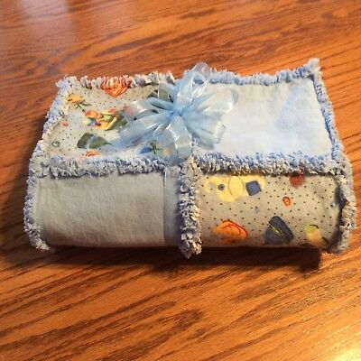 Baby Boy Animal & Toy Print Flannel Rag Quilt NEW Handmade-Perfect Shower Gift