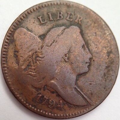1794 Liberty Cap Half Cent - Low Relief Head - Extremely Scarce Early U.S. Coin!