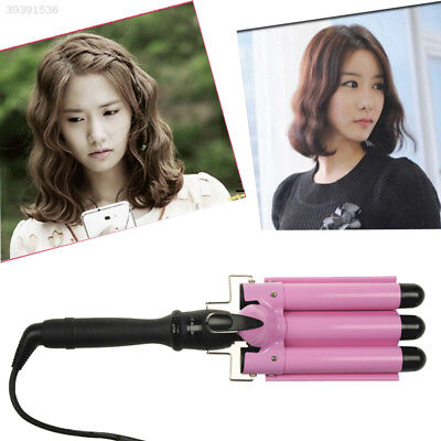3 Barrel LCD Ceramic Pink Hair Curler Styler Curling Iron Tong Styling