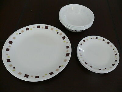 Corelle Dinner set Square Geometric  Brown Retro 12 pices EUC