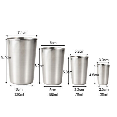 1/4PCS Stainless Steel Cups Mug Shot Cover Case Coffee Tea Beer Camping Tumbler