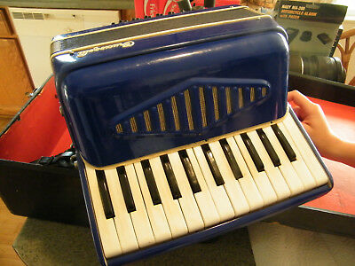 Nice! Preowned 1850's Crucianelli Blue Small Accordion Made in Italy Plays Well