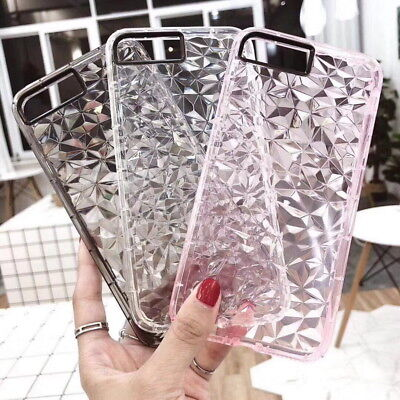 Pour iPhone X 8 6 7 Plus Crystal Bling Glitter Silicone TPU Clear Coque Cover