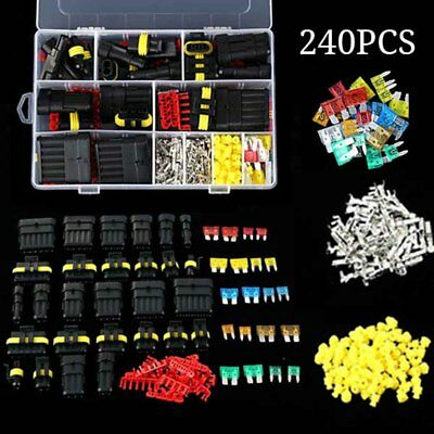 240pcs Pin Car Electrical Wire Waterproof Connector Plug Terminal Fuse Kit Set