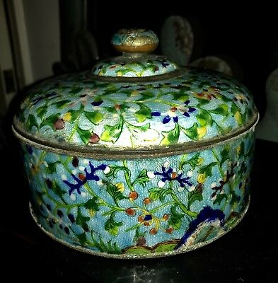 Antique Chinese Cloisonne Enamel Trinket Box / Jar / Urn / Tea Caddy With Lid