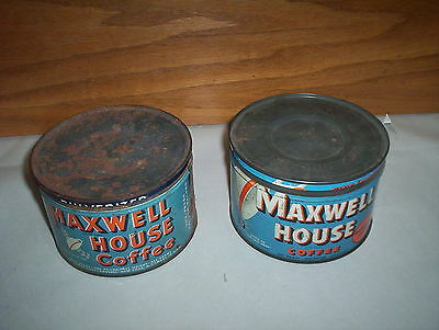 2 Vintage Maxwell House Coffee Tins Cans Lot : 2 Styles of 1LB Tins USA