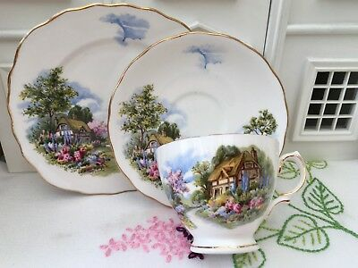 ROYAL VALE 1950s TRIO SET x2 CUP SAUCER PLATE THATCHED COTTAGE GILDED BONE CHINA