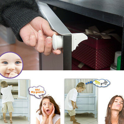 4Pcs LOT Invisible Magnetic Baby Child Pet Proof Cupboard Drawer Safety Lock Set