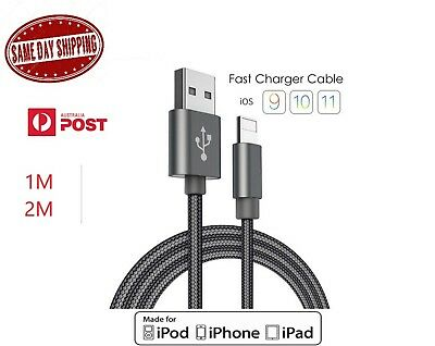 1M/2M Genuine USB Nylon Cable Cord Charger for Apple iPhone X 8 7 6 5 5s iPad