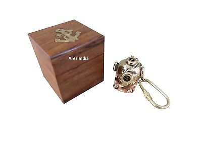 New Brass Divers Helmet Keychain Nautical Gift Maritime Yatching with wooden box