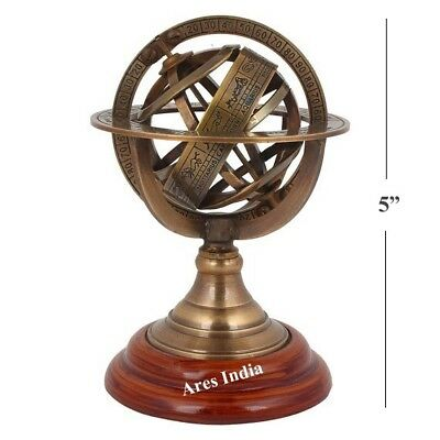 "New 5"" Greek Antiquity Style Brass Revolving Armillary Sphere Solar System Globe"