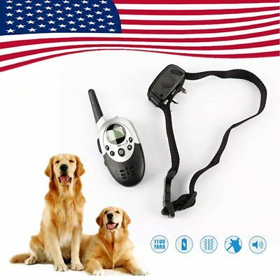 1000Feet Waterproof Shock Vibrate Remote Training Collar Large Med Small Dog QC